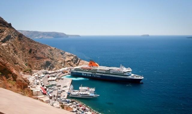 Blue Star Ferries ship in Athinios, Santorini