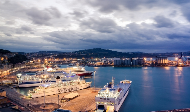 Port of Ancona during the night, evening lights, ferry route from Corfu to Ancona, ferry tickets