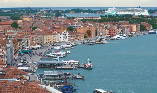 Ferry in port of Venice - Italy