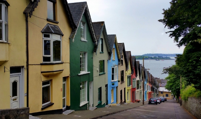 The city and port of Cork in Ireland, houses, colours, ferry tickets to Santander