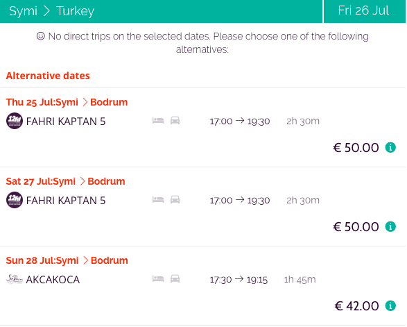 Book ferry tickets from Symi to port of Bodrum, Turkey
