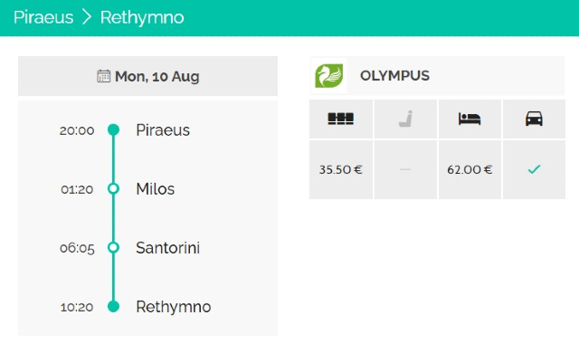 Piraeus to Rethymno ferry route, via Milos and Santorini, Olympus ferry, ferry ticket types and prices
