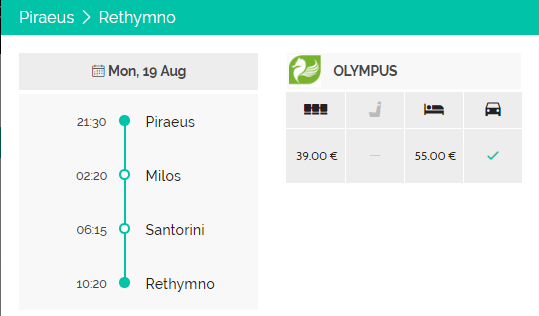 Piraeus - Rethymno ferry route - schedule and available seat types