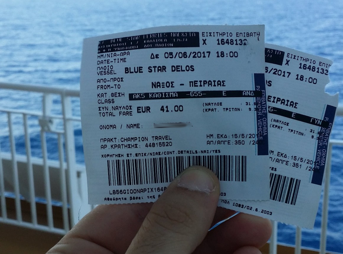 Paper coupons of ferry tickets for Greek Islands