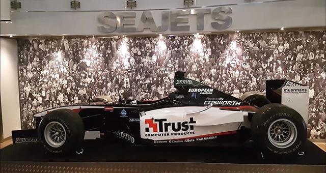 Formula 1 racing car on the 'WorldChampion jet' by Seajets