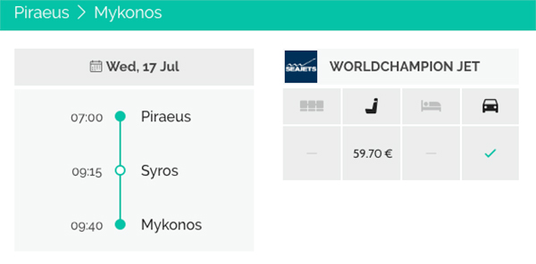Piraeus - Syros - Mykonos Seajets