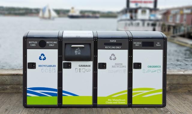 recycling bins on docks, paper, plastic, tin, organic waste, circular eceonomy