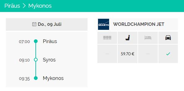 Von Piräus nach Mykonos WorldChampion Jet Fähre Seajets