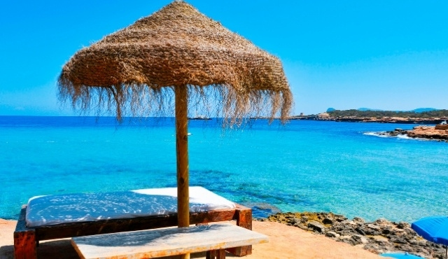 umbrella, bench, seaside, rocky beach, balearic islands, ibiza, peaceful location
