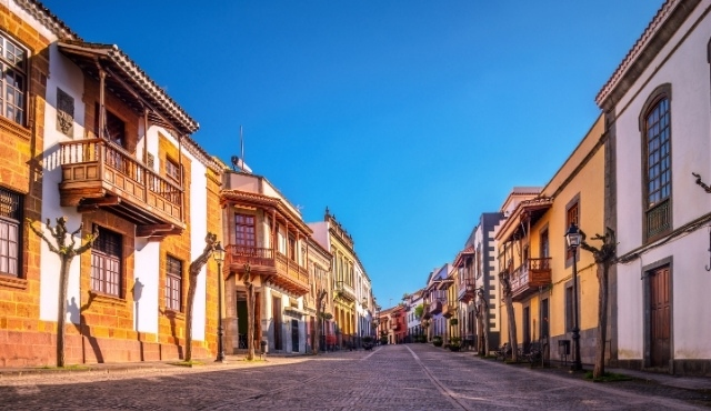 Traditional colorful houses at the town of Teror in Gran Canaria