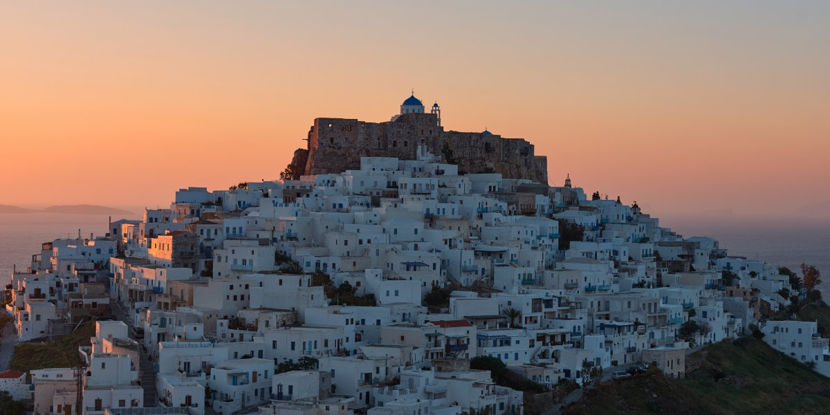 The main town of Astypalea at sunset