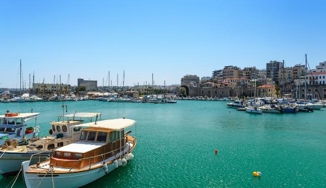 port of heraklion, crete island, greece, boats, summer holidays, promenade