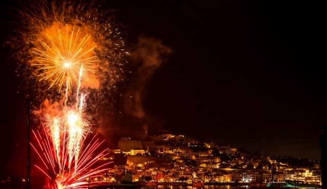 fireworks, ibiza port, night, balearic islands