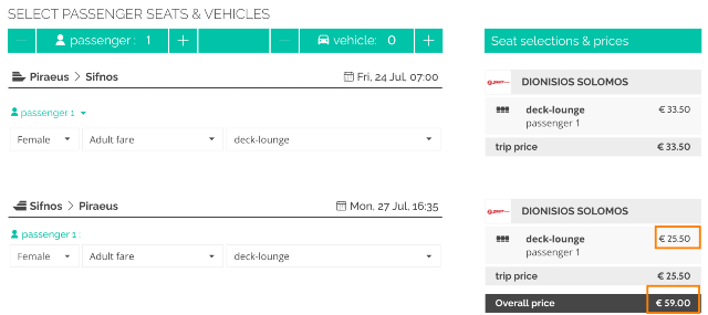 Automatic application of a 25% discount on the return ticket for Piraeus - Sifnos itinerary with Zante Ferries