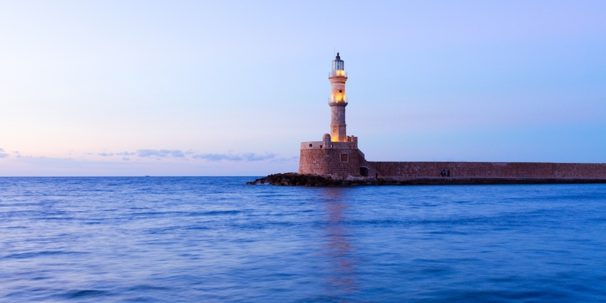 Lighthouse at the old port of Chania in Crete
