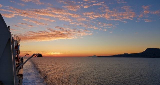 Sunset in the Aegean Sea from a ferry to Crete