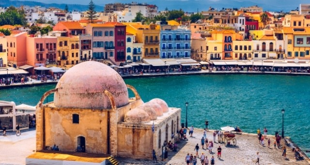 The old port of Chania in Crete
