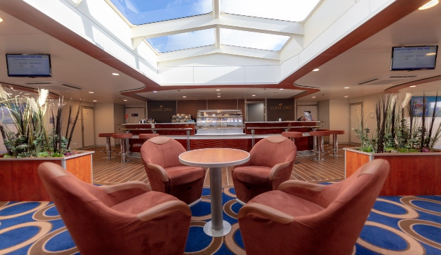 fred olsen express, lounge, premium fare, gold class, cafe, ceiling window, chairs