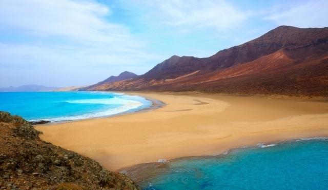 fuerteventura, beach, sea, volcanic landscape, barlovento, cofete, canary islands