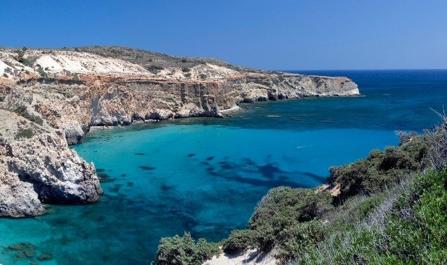 blue waters, beach, rocks, Cyclades, green, Greece, sunny day