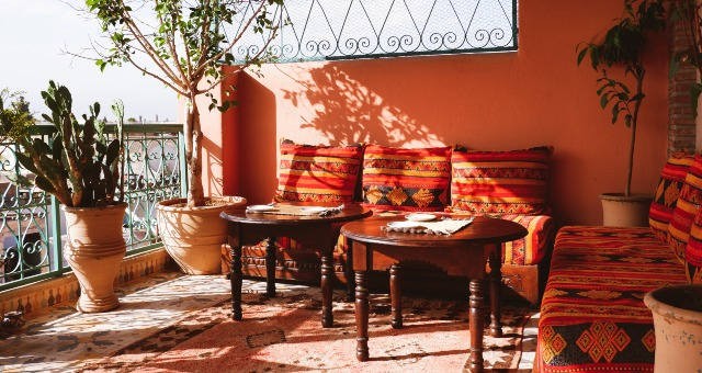 work-from-home, balcony, morocco, colours, plants, tables, traditional design