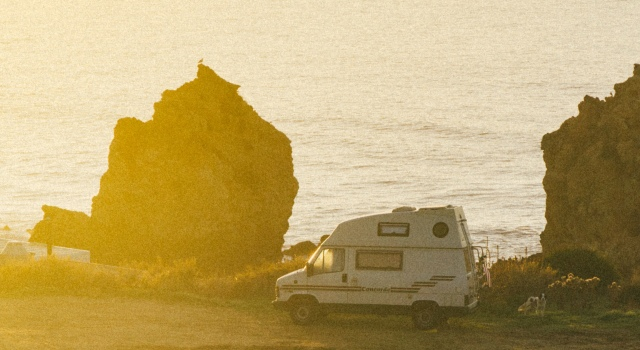 Sun, sea, rocks, camper, van, balearic islands, roadtrip