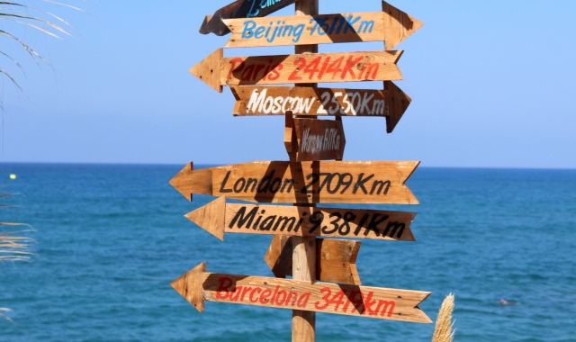 Sign, distances, cities, hersonissos, crete, beach resort, sea, horizon, blue