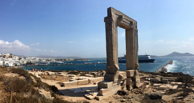Portara, Naxos, archaeological site, blue sky, port, ferry, island town
