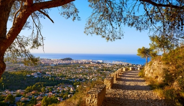 denia, hiking trail, walking, hill, sea view, port of denia, nature trees