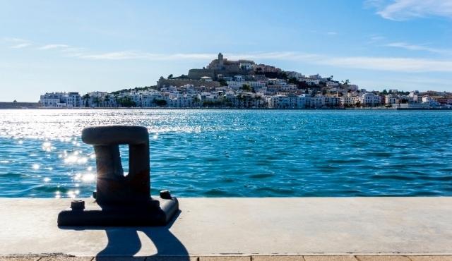 ibiza, old town, port view, sun, spain, clear sky, blue sea