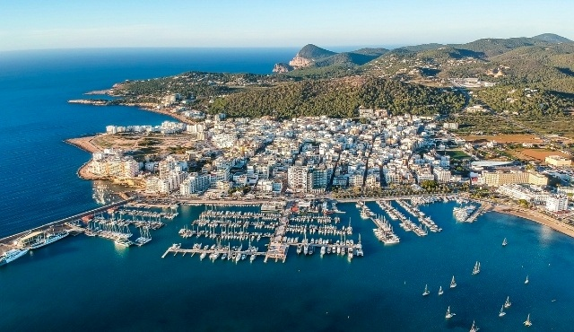 ibiza, port of san antonio, balearic islands, coastline, sea, ferries