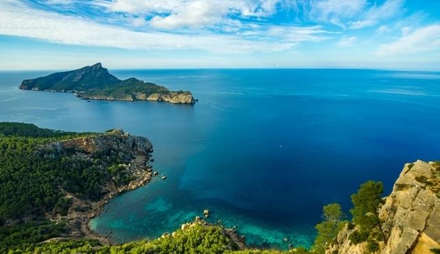 dragonera, lush greenery, islet, balearic sea, rocky coast