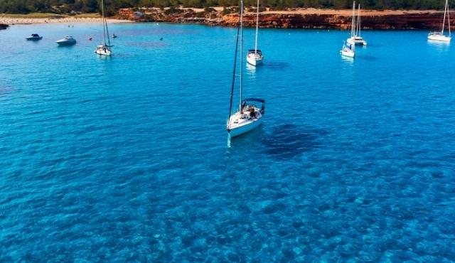 clear waters, exotic beach, blue sea, sailing boats, formentera