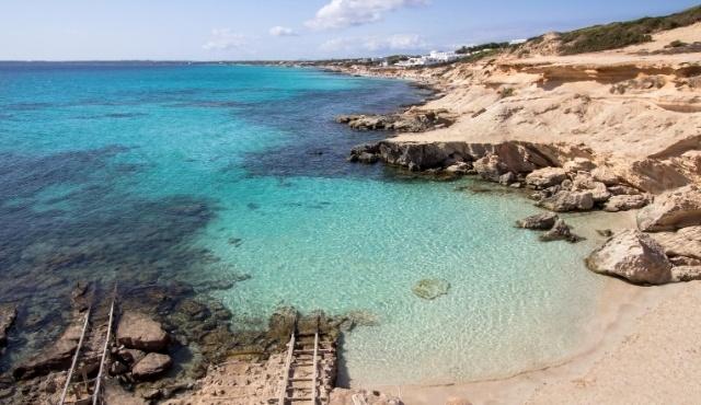 formentera, beach, crystal-clear waters, ladders, coast, es calo