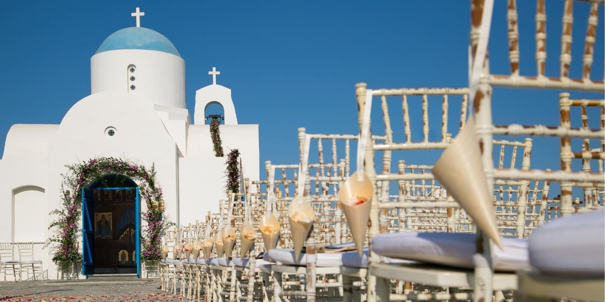 Outdoor wedding at a Cycladic chapel in Greece
