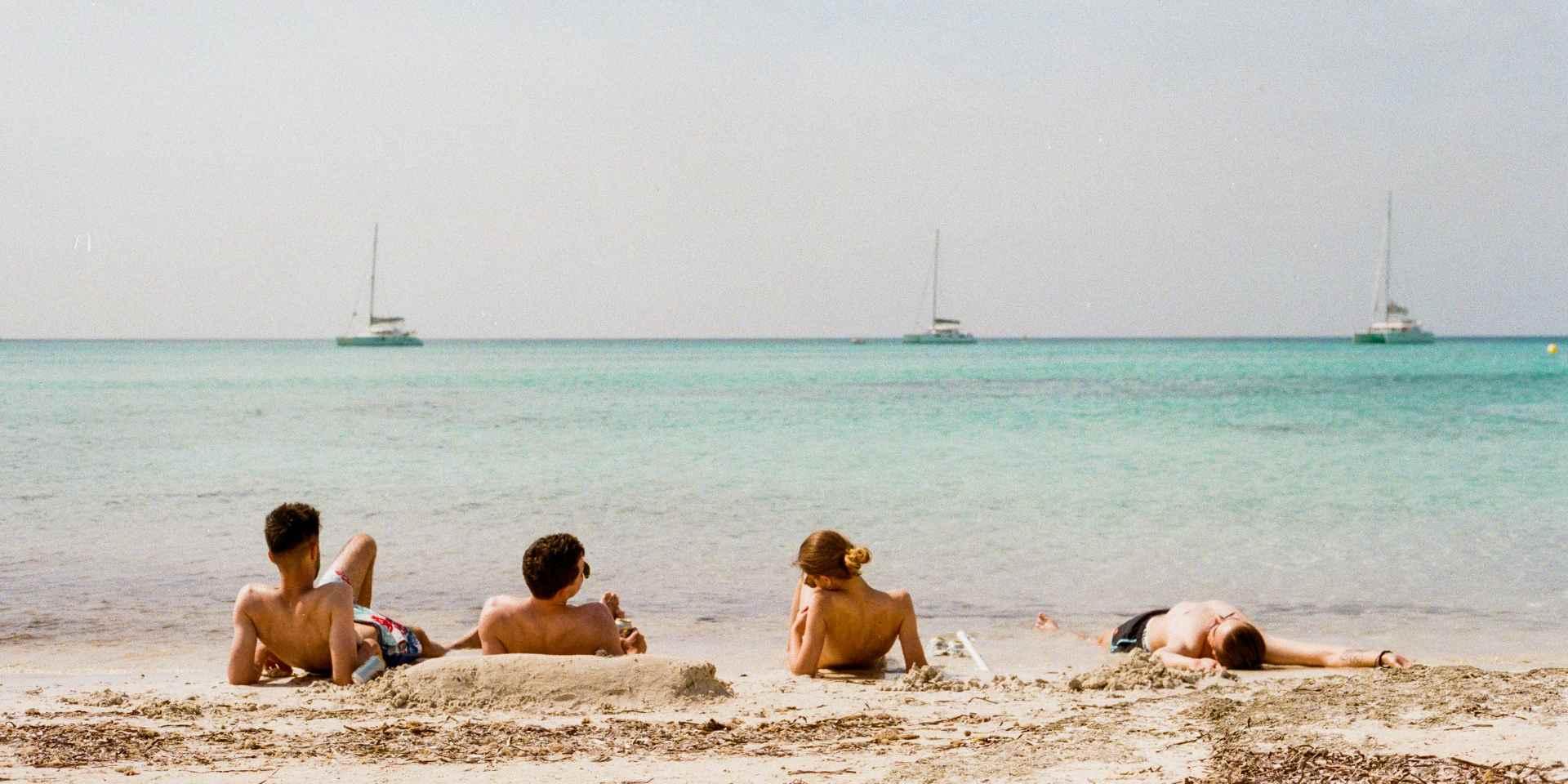 Friends from school on the beach in Greece