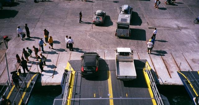 passengers, vehicles, disembarkation, ferry, island port, Kalymnos, port authorities