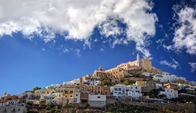 Houses at the old town of Ano Syros built on the hilltop