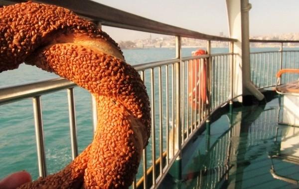 Greek koulouri on a ferry
