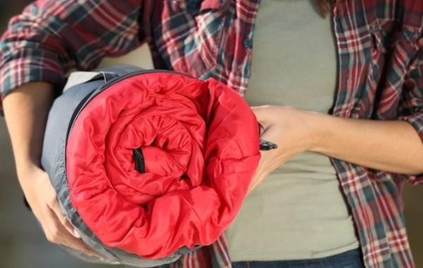 a red sleeping bag