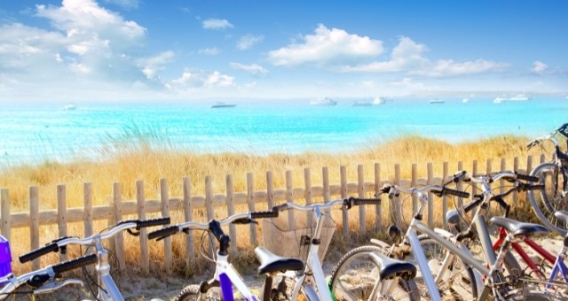 Bicycles near a beach of Formentera