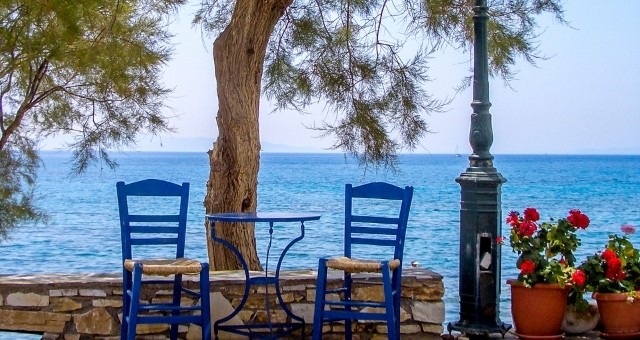 Chairs and sea in Naxos
