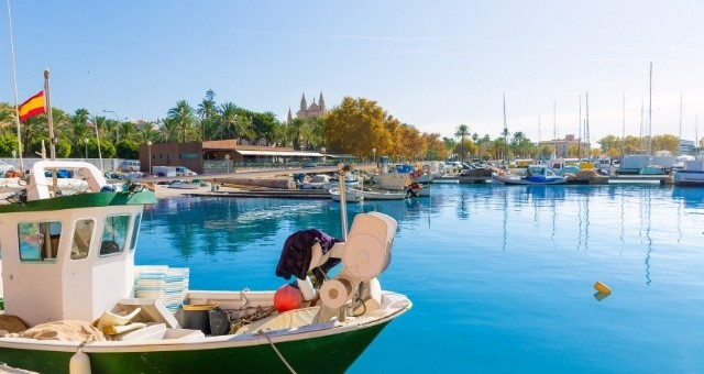 Boats at the harbor of Palma de Mallorca