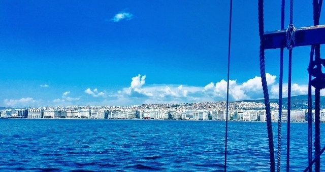 The port of Thessaloniki as seen from the ferry deck
