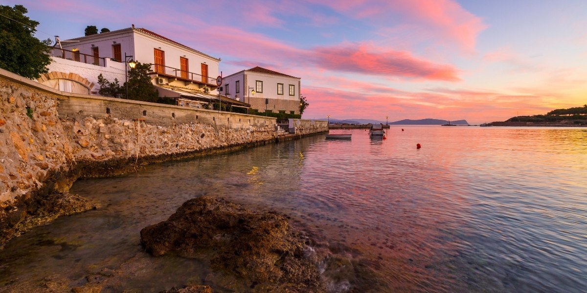 The harbor of Spetses at sunset