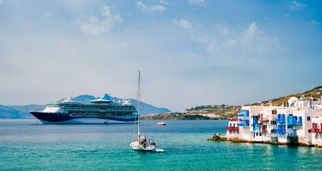 Large ferry by the Little Venice of Mykonos