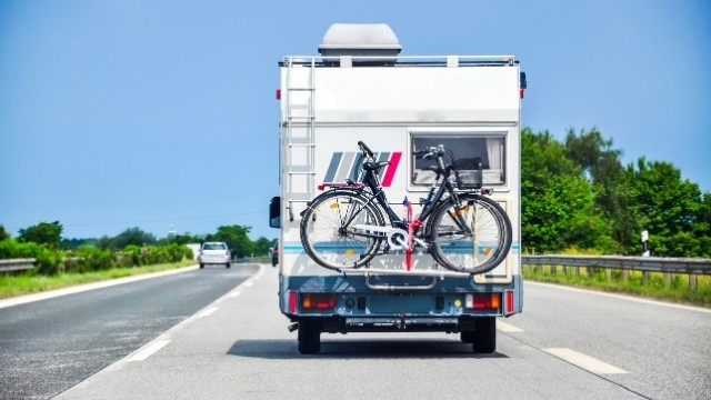 camper with bicycles