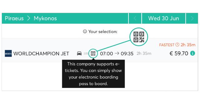 Ferryhopper booking process e-ticket sign