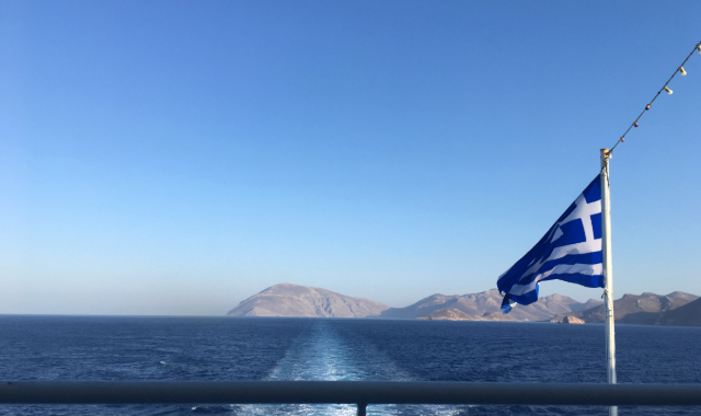 blue sea, flag, ferry trip