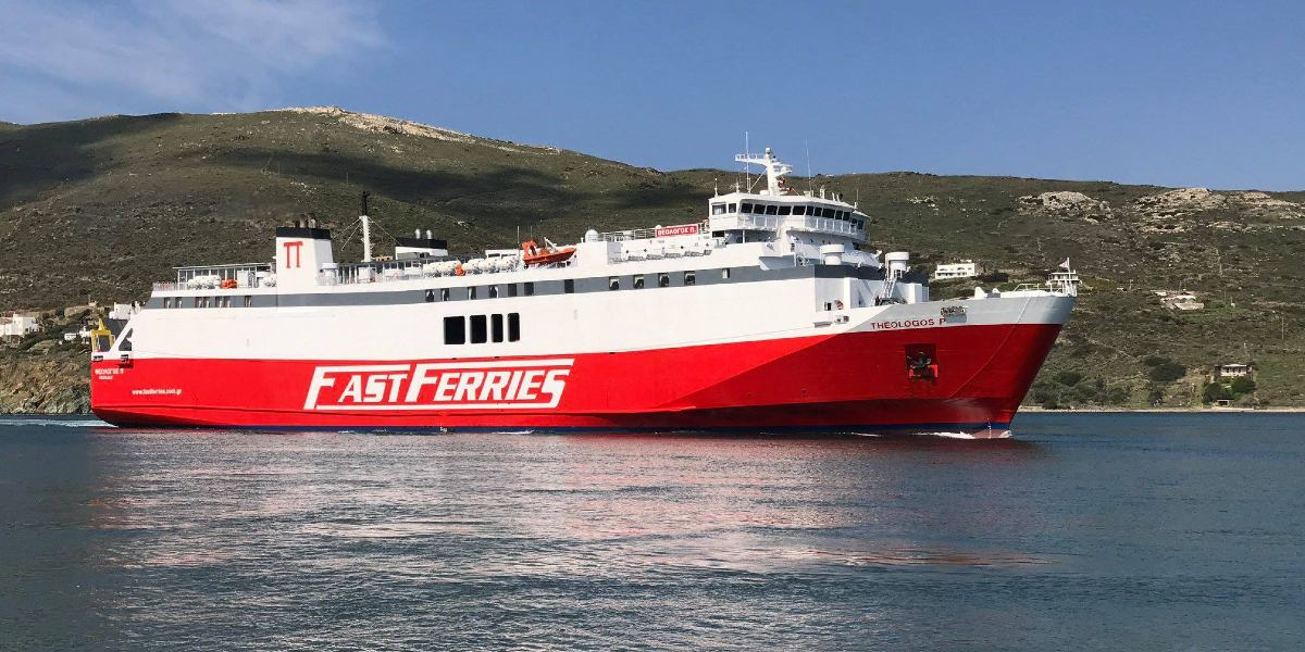 white and red ferry of Fast Ferries, sea